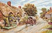 Thatched Cottage Lane - Grafitec Tapestry Canvas