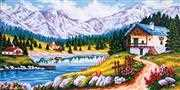 Mountain Chalet in Spring - Grafitec Tapestry Canvas