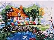 Grafitec Pond in the Garden Tapestry Canvas