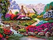 Grafitec Garden by Old Stone Bridge Tapestry Canvas