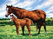 Grafitec Mare and Foal Tapestry Canvas