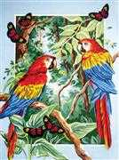 Grafitec Tropical Parrots Tapestry Canvas
