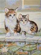 Kittens Playing - Grafitec Tapestry Canvas
