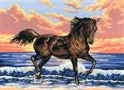 Grafitec Horse in the Waves Tapestry Canvas