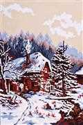 Winter Cabin - Grafitec Tapestry Canvas