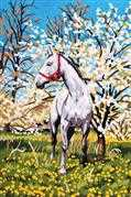 Horse in Orchard - Grafitec Tapestry Canvas