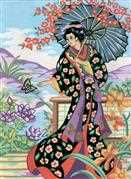Geisha with Parasol - Grafitec Tapestry Canvas