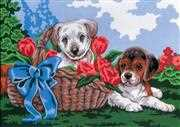 Grafitec Puppies in a Basket Tapestry Canvas