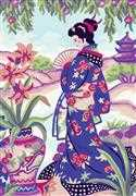 Grafitec Geisha with Fan Tapestry Canvas
