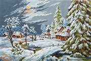 Moonlight Snow Scene - Grafitec Tapestry Canvas