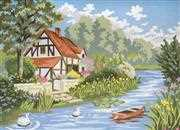Grafitec Cottage by the Stream Tapestry Canvas