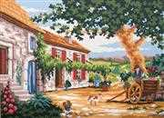 Tuscan Courtyard - Grafitec Tapestry Canvas