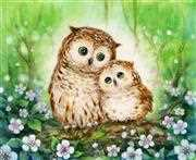 Mother and Baby Owl - Grafitec Tapestry Canvas