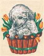 Puppy and Tulips - Grafitec Tapestry Canvas
