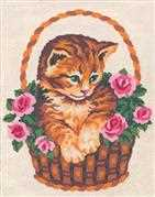 Cat in a Basket - Grafitec Tapestry Canvas