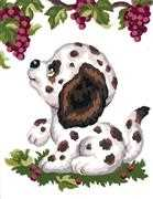 Puppy and Grapes - Grafitec Tapestry Canvas