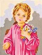 Child with Flowers - Grafitec Tapestry Canvas