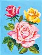 Roses on Blue - Grafitec Tapestry Canvas
