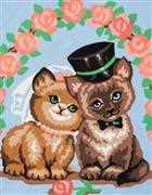Grafitec Kitty Love Wedding Sampler Tapestry Canvas