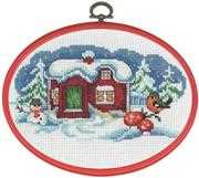 Permin Snowman and Bullfinch Christmas Cross Stitch Kit