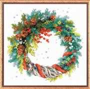 RIOLIS Wreath with Blue Spruce Christmas Cross Stitch Kit