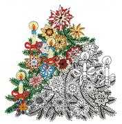 Zenbroidery Printed Fabric - Christmas Tree - Design Works Crafts Embroidery Fabric