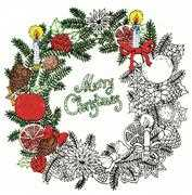 Zenbroidery Printed Fabric - Christmas Wreath - Design Works Crafts Embroidery Fabric