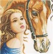 Lanarte Woman with Horse Cross Stitch Kit