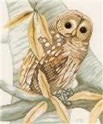 Lanarte Owl and Autumn Leaves Cross Stitch Kit