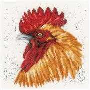 Lanarte Brown Rooster Cross Stitch Kit