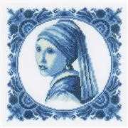 Lanarte Girl with a Pearl Cross Stitch Kit