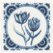 Lanarte Delft Tulips Cross Stitch Kit