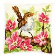 Bird and Pink Flowers Cushion - Vervaco Cross Stitch Kit