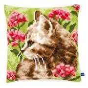Cat in Field of Flowers Cushion - Vervaco Cross Stitch Kit