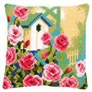 Birdhouse and Roses Cushion - Vervaco Cross Stitch Kit