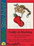 Teddy in Stocking - Mouseloft Cross Stitch Card Design