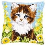 Cat and Yellow Flowers Cushion - Vervaco Cross Stitch Kit
