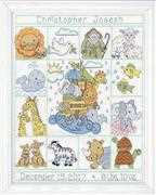Design Works Crafts Noah's Animals Sampler Birth Sampler Cross Stitch Kit
