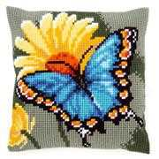 Butterfly and Yellow Flower Cushion - Vervaco Cross Stitch Kit