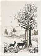 Roe Deer - Linen - Permin Cross Stitch Kit