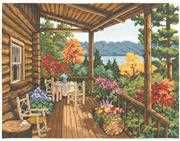 Janlynn Log Cabin Porch Cross Stitch Kit