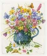 Lanarte Flowers in Vase Cross Stitch Kit