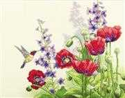 Dimensions Hummingbird and Poppies Cross Stitch Kit