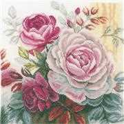 Lanarte Pink Rose Cross Stitch Kit