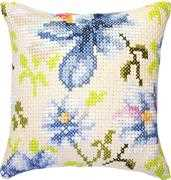 Luca-S Blue Flower Cushion Cross Stitch Kit