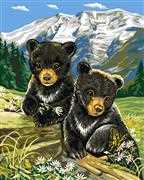 Bear Cubs in Spring - Grafitec Tapestry Canvas