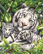 White Tiger and Cubs - Grafitec Tapestry Canvas