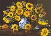 Sunflowers in a Blue Vase - Grafitec Tapestry Canvas