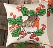 Robins Cushion - Permin Cross Stitch Kit