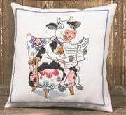 Permin Reading Cow Cushion Cross Stitch Kit
